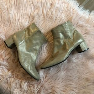 Metallic Gold Suede Bowie Ankle Boots